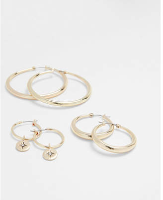 Express set of three tube and charm hoop earrings