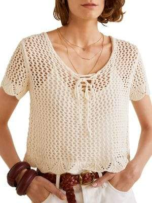 MANGO Corded Open-Knit Cropped Top