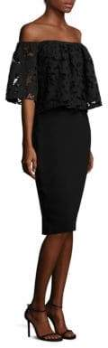 Shoshanna Off-the-Shoulder Lace Sheath Dress