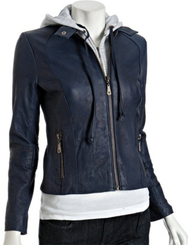 Doma dark blue leather layered hooded zip jacket