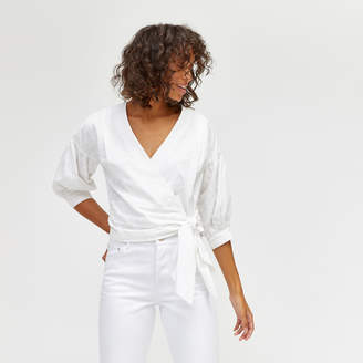 Warehouse Broderie Wrap Top