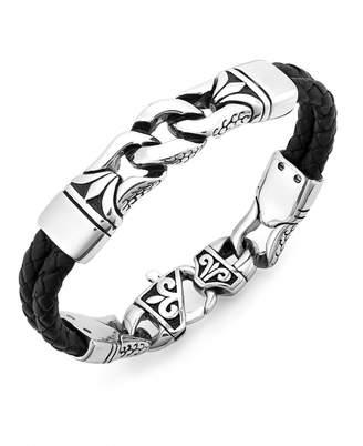 Sutton by Rhona Sutton Men Stainless Steel Link and Braided Leather Bracelet