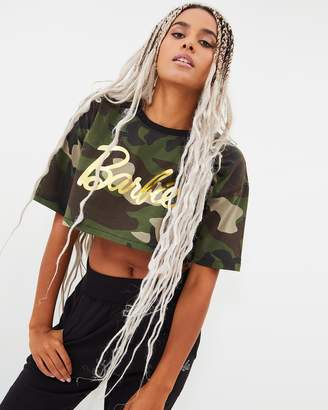 Missguided Barbie x Camo Cropped T-Shirt