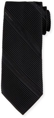 Stefano Ricci Pleated Silk Tie W/Crystal-Embellishment, Black $675 thestylecure.com