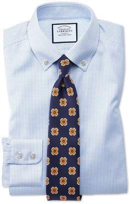 Charles Tyrwhitt Classic Fit Button-Down Non-Iron Twill Mini Grid Check Sky Blue Cotton Dress Shirt Single Cuff Size 15/35