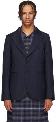 House of the Very Islands Blue Striped Wool Blazer