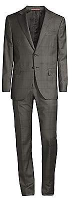 Isaia Men's Windowpane Wool & Silk Suit