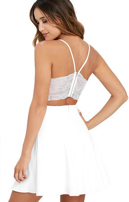 Perfect Evening Ivory Lace Skater Dress $58 thestylecure.com