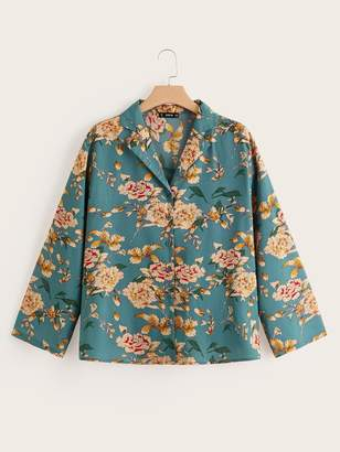 Shein Plus Botanical Print Collar Button Fly Blouse