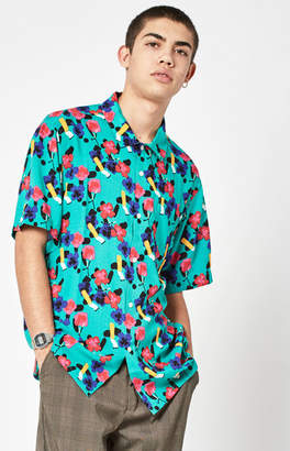 Obey Ashed Out Short Sleeve Button Up Camp Shirt