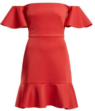 Saloni Amelia Off The Shoulder Fluted Dress - Womens - Red