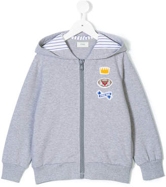 Fendi patch embroidered hooded jacket
