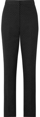 Erdem Emanuelle Polka-dot Cotton-blend Jacquard Straight-leg Pants - Black