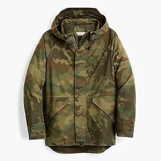Cotton-nylon hooded jacket in camo