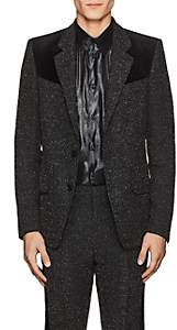 Givenchy Men's Velvet-Trimmed Bouclé Wool Two-Button Sportcoat-Black
