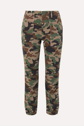 Nili Lotan French Military Cropped Camouflage-print Stretch-cotton Twill Tapered Pants - Green