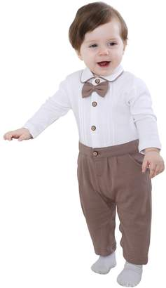 DREAMOWL Baby Boy Gentleman Romper Vest Tuxedo Jumpsuit Formal Outfit Set (18-24 Months)