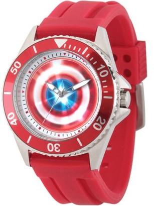 Marvel Marvel's Avengers: 75th Anniversary Shields Men's Honor Stainless Steel Watch, Red Bezel, Red Rubber Strap