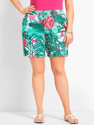 "Talbots Plus Size Exclusive 7"" Tropical Paradise Scallop Short"