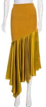 Prabal Gurung Knit-Paneled Silk Skirt w/ Tags