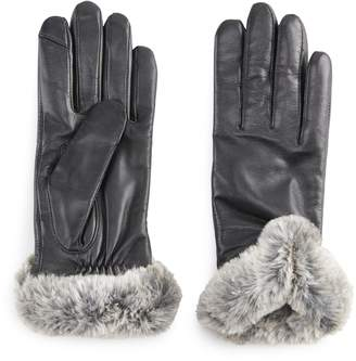Apt. 9 Women's Leather Faux-Fur Tech Gloves