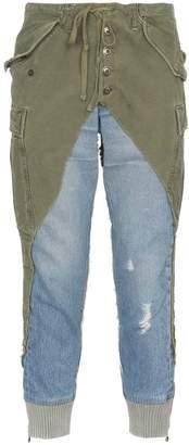 Greg Lauren denim panel distressed cotton trousers