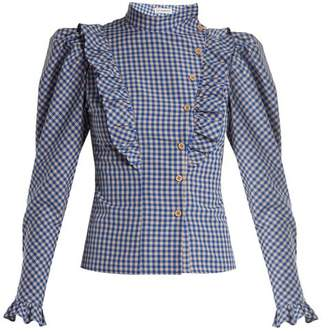 Vika Gazinskaya High Neck Ruffle Trimmed Gingham Blouse - Womens - Blue White