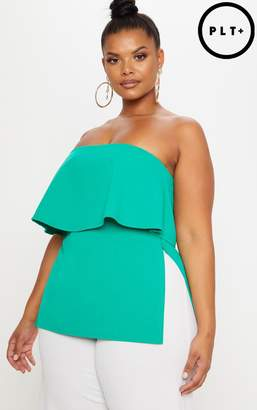 PrettyLittleThing Plus Green Bandeau Frill Overlay Top