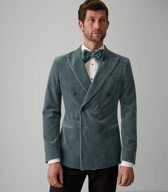 Reiss STUDIO VELVET DOUBLE BREASTED BLAZER Teal