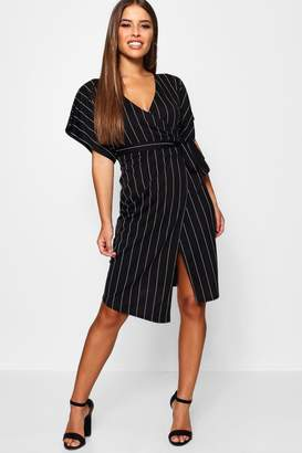 1d33f4db83e7 boohoo Petite Crepe Pin Stripe Wrap Midi Dress