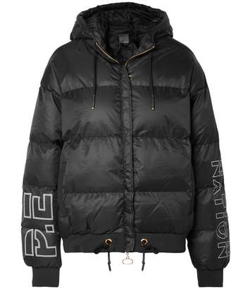 P.E Nation Under The Wire Hooded Printed Quilted Shell Jacket - Black