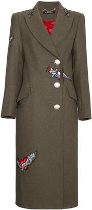Navro Wool coat with embroidered tattoos