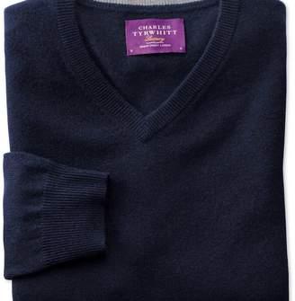 Charles Tyrwhitt Navy cashmere v-neck jumper
