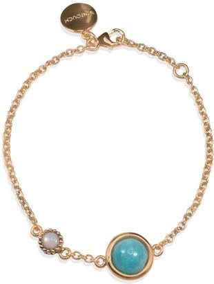 Vintouch Italy Satellite Rose Gold Vermeil Amazonite & Opal Bracelet