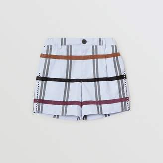 Burberry Childrens Windowpane Check Cotton Tailored Shorts