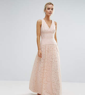 Little Mistress Petite Allover Lace Full Prom Maxi Dress