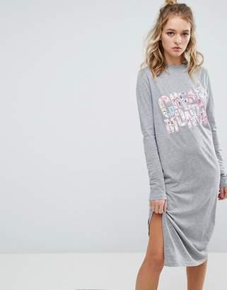 Cheap Monday Block Floral Long Sleeve T Shirt Dress
