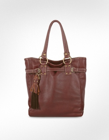 Forzieri Dark Brown Pebble Leather Large Tote Bag