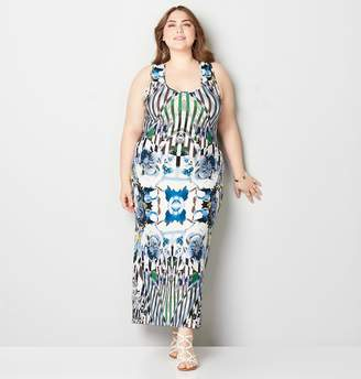 e16452a56a7 Avenue Plus Size Abstract Floral Gathered Back Maxi Dress