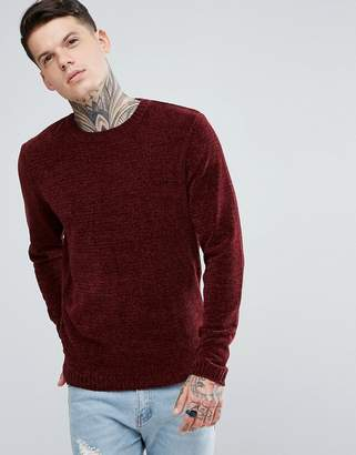 Asos Chenille Sweater In Burgundy