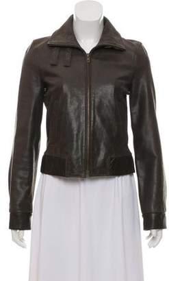 Celine Leather Mock Neck Jacket