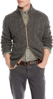 Brunello Cucinelli Men's Cable-Knit Full-Zip Cardigan Sweater