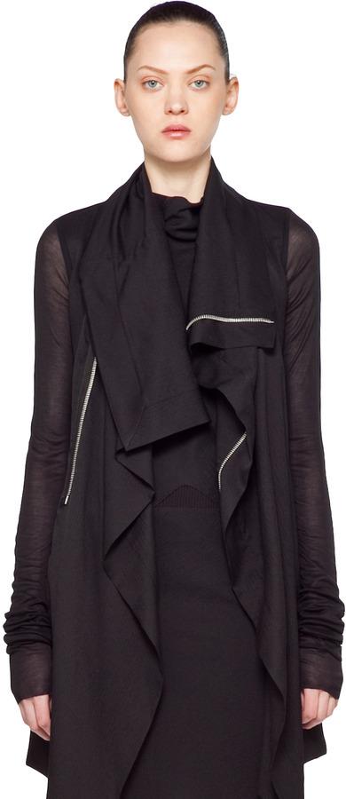 Rick Owens Opera Biker Lunga Jacket in Black