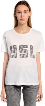 Saint Laurent Flag Printed Cotton Jersey T-Shirt