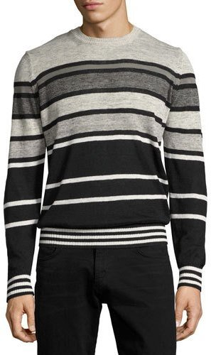 Diesel Diesel Striped Crewneck Sweater, Black