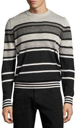 Diesel Striped Crewneck Sweater, Black $148 thestylecure.com