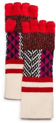 Burberry Mixed Fair-Isle Fingerless Gloves