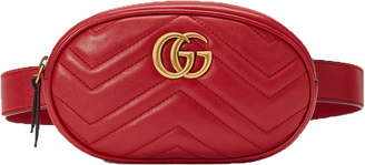 Gucci Waist Pouch Matelasse Belt Marmont Hibiscus Red