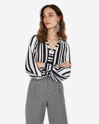 Express Striped Button Front Blouson Sleeve Chelsea Popover