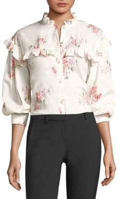 Rebecca Taylor Floral-Print Ruffle Blouse